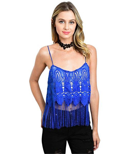 blue crochet lace crop top with blue fringe - Shop Canary Clothing