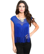 Flapper girl inspired sweetheart blue fringe bodysuit - Shop Canary Clothing