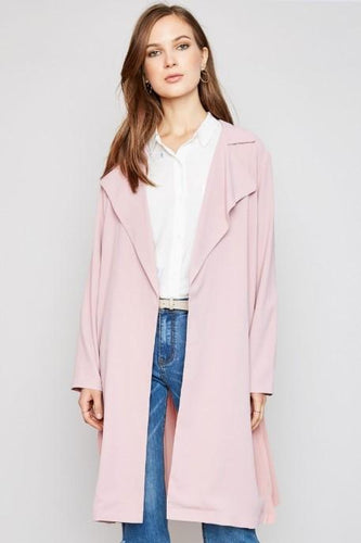 Helen Pink Pleated Duster Jacket - SHOP CANARY CLOTHING