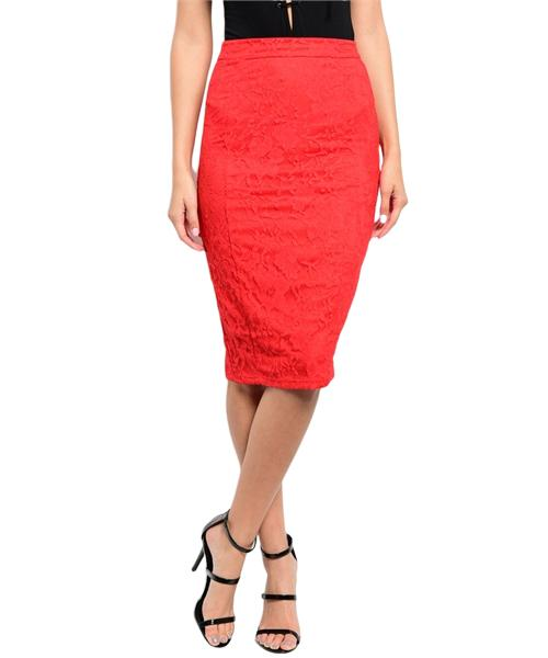 Sophisticated red lace skirt with sheer floral pattern lace lining - Shop Canary Clothing