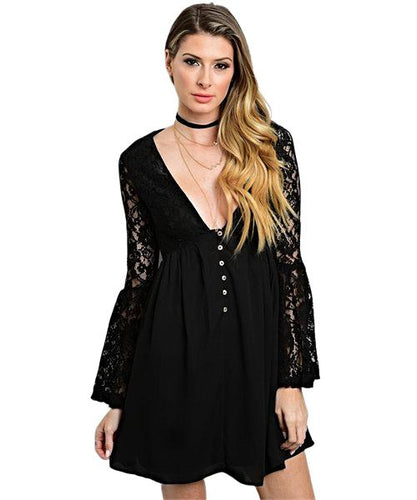 This mini black dress features long lace bell sleeves, plunging neckline and a button closure - Shop Canary Clothing