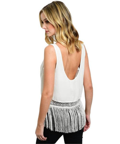 Flapper girl inspired white fringe crop top - Shop Canary Clothing
