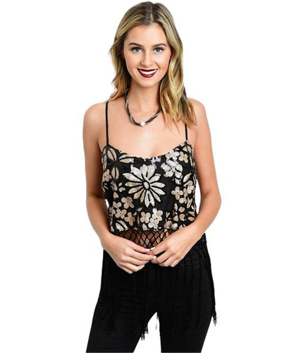 Black and Gold flower print sequin crop top with fringe - Shop Canary Clothing