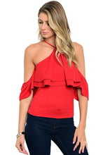 Short off the shoulder red ruffle detail halter neck blouse - Shop Canary Clothing