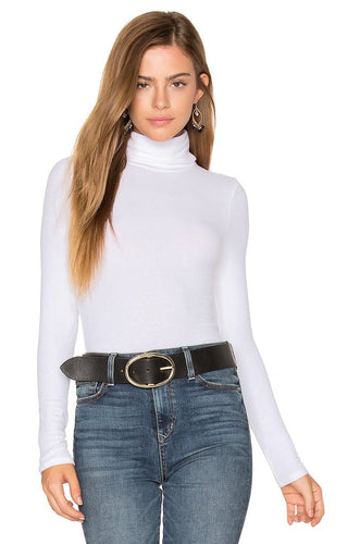 Abby White Long Sleeve Turtleneck - SHOP CANARY CLOTHING