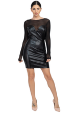 A mini dress featuring a solid black color, mesh fabric, a round neckline, long sleeves, princess seams, and a bodycon silhouette. - Shop Canary Clothing