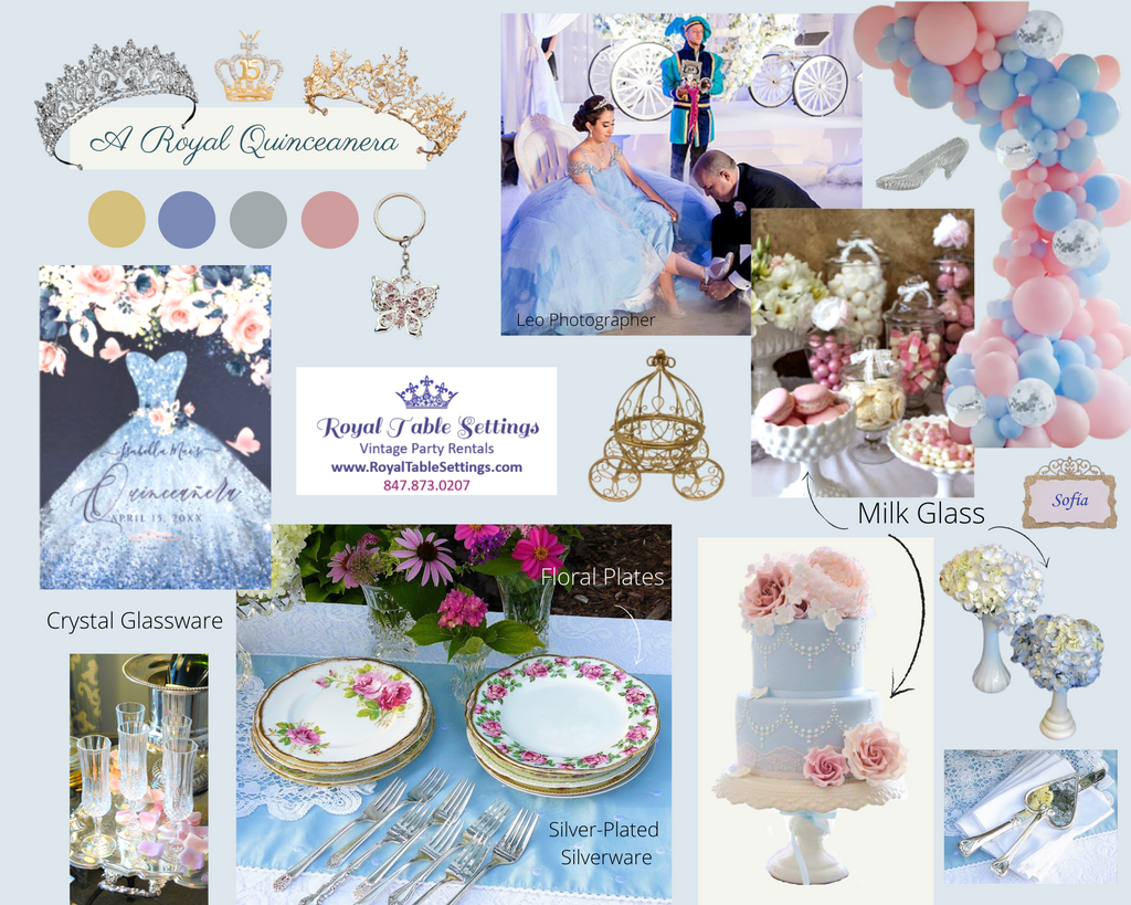 A Royal Quinceanera Mood Board Pink Blue Gold Silver by Royal Table Settings Party Rentals 2022