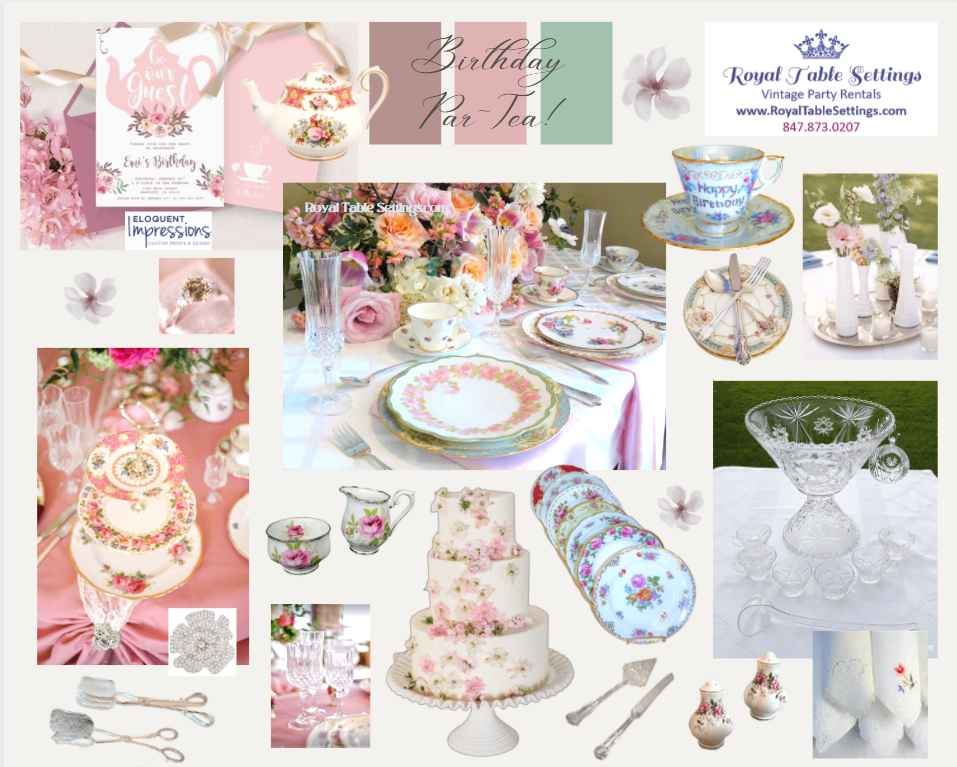 Tea Party Mood Board with Pinks Silver Crystal by Royal Table Settings, Vintage Party Rentals.