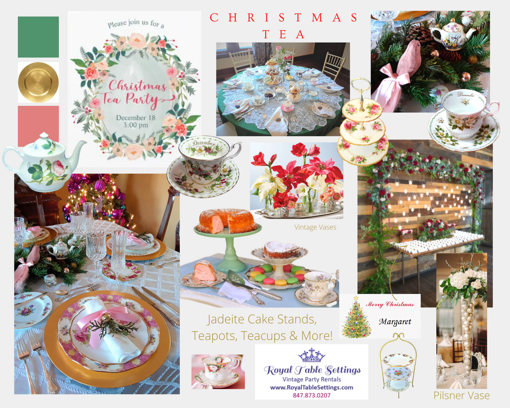 Christmas Tea Party Moodboard by Royal Table Settings Tea Party Rentals