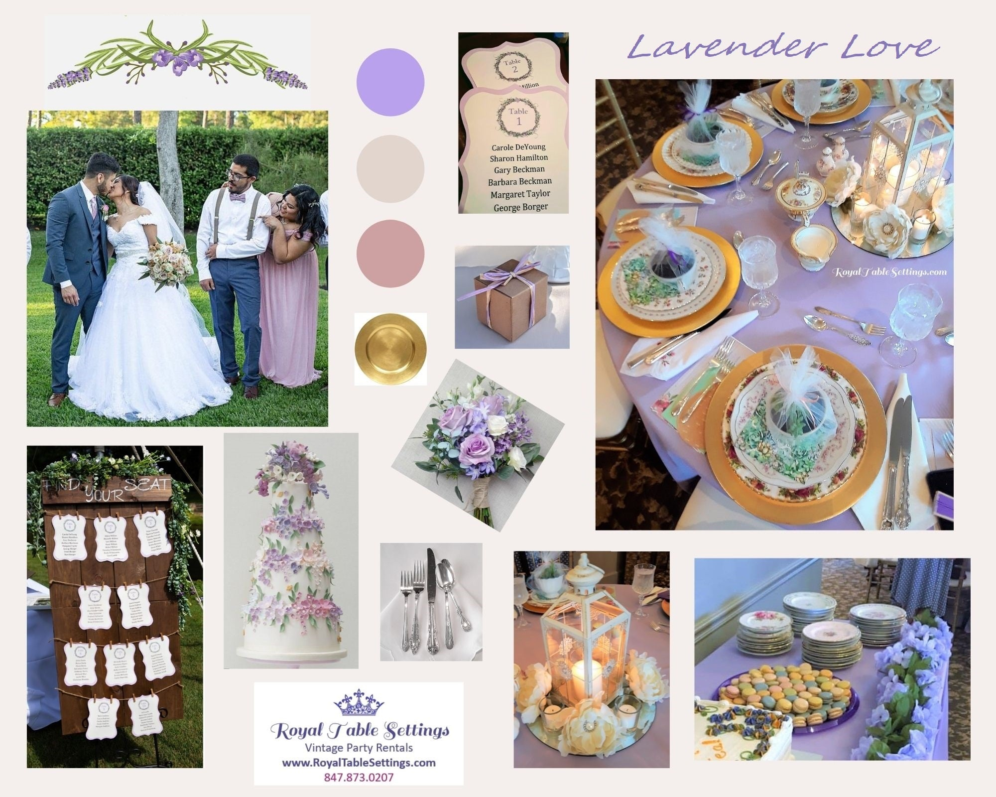 Lavender Mood Board by Royal Table Settings Party Rentals