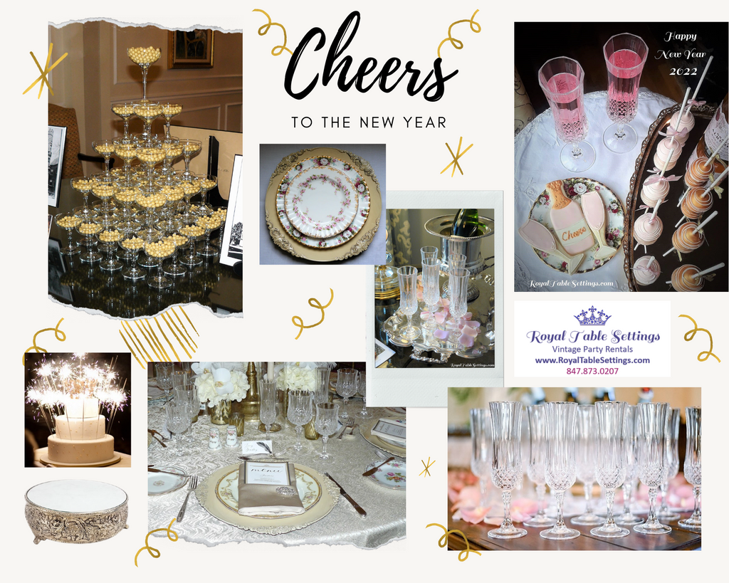New Years Eve Mood Board with Crystal Glasses Champagne Tower Cake Stands and more by Royal Table Setttings 2022