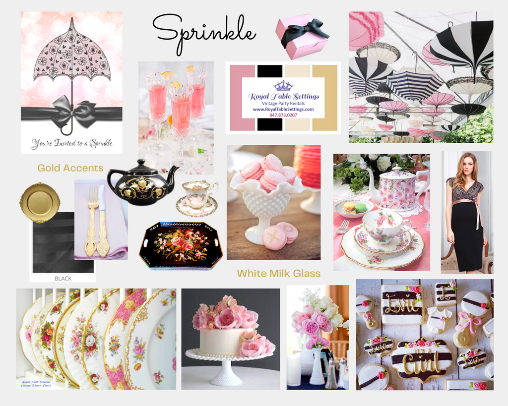 Sprinkle Baby Shower Mood Board Pinks, Gold and Black by Royal Table Settings, Vintage Party Rentals.