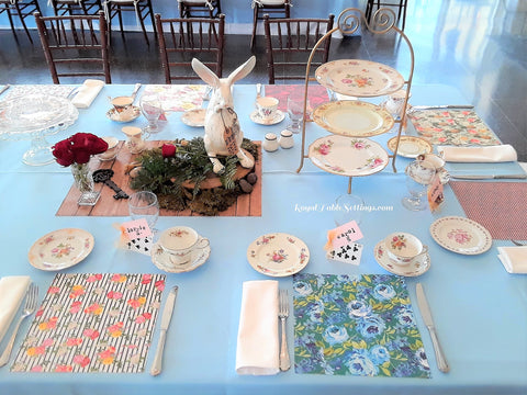 "Place Setting examples with High Tea Stand and ""Wood"" centerpiece"