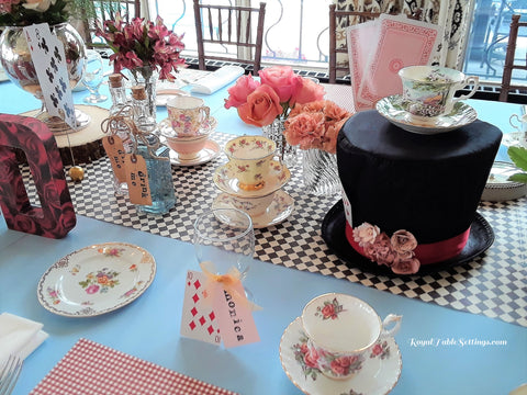 Alice in Wonderland Centerpiece With Hat and Tea Cups by Royal Table Settings