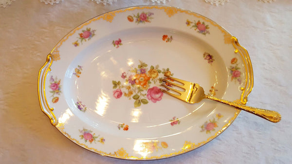 Vintage Serving Platter with Fork Serving Utensil