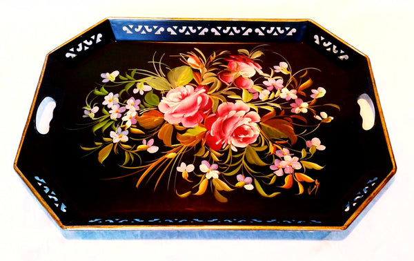 Large Black Tin Tray with Floral Accents and Handles