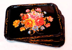 Small Black Tin Trays with Floral Accents
