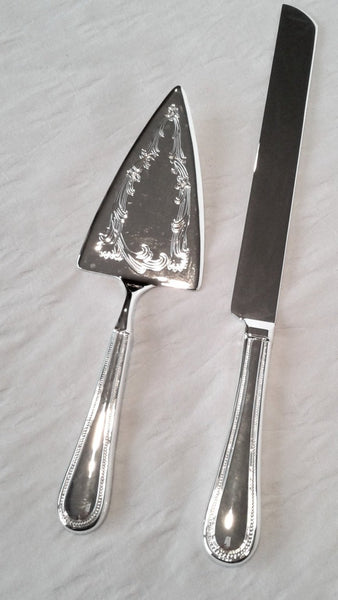 Etched Silver-Plated Cake Knife & Server Set