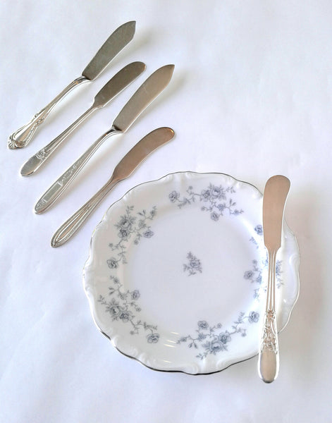 Silver-Plated Butter Knives with Blue Floral Bread Plate