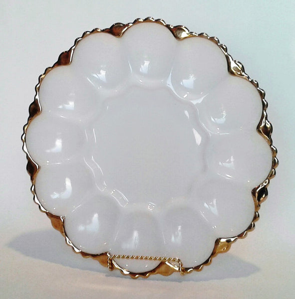 Milk Glass Gold Rim Serving Plate