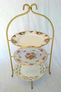 High Tea 3-Tier Stand - Gold Frame with Vintage Plates