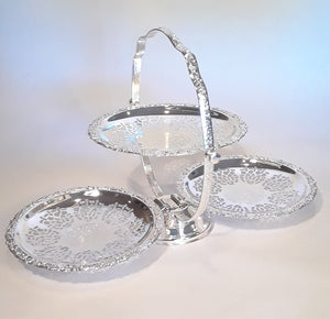 3-Tiered Silver Folding Cake Stand