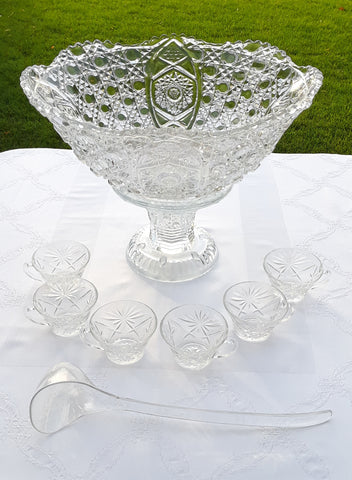 Button Punch Bowl with Cups and Ladle