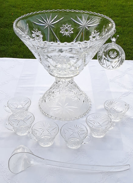 Star Punch Bowl with Cups and Ladle