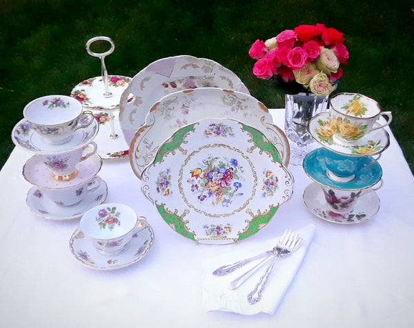 Appetizer / Cake Plates with Teacups