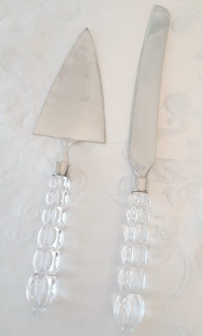 Crystal Handle Cake & Knife Server Set