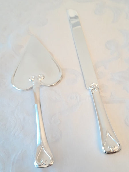 Hearts Silver-Plated Cake Knife & Server Set