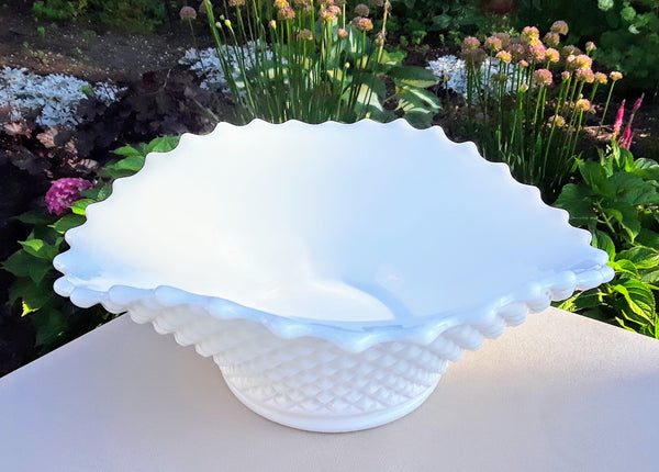 Medium - Oval Milk Glass Bowl