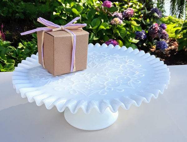 Large Milk Glass Ruffle Cake Plate with Scroll-work