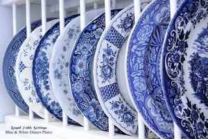 Blue & White Dinner Plates by Royal Table Setting. Beautiful china rentals for any type of event!
