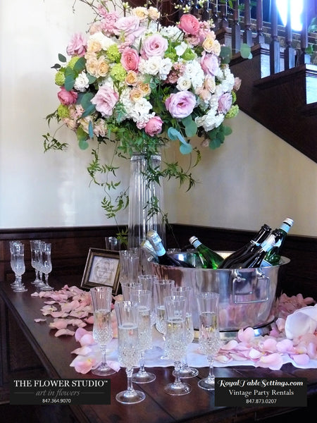 Beautiful Display of Crystal Champagne Flutes for Rent for your event!