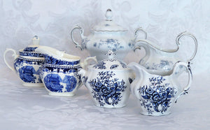 Blue & White Creamer & Sugar Set