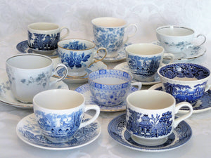 Blue & White Cup and Saucer Sets