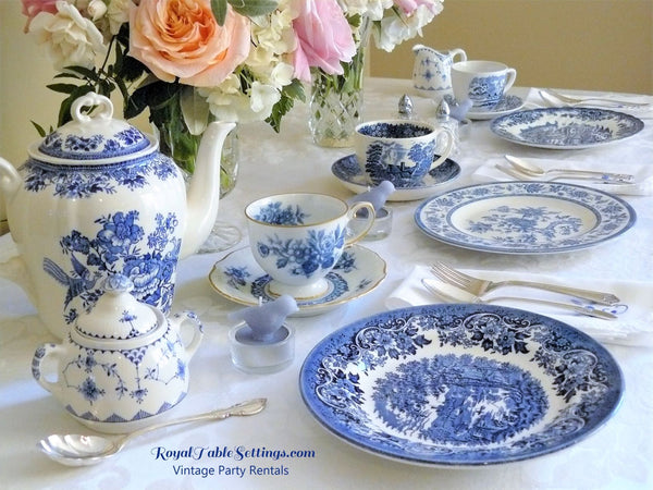 Blue & White Cup and Saucer Sets. Blue & White Teapot. For rent.