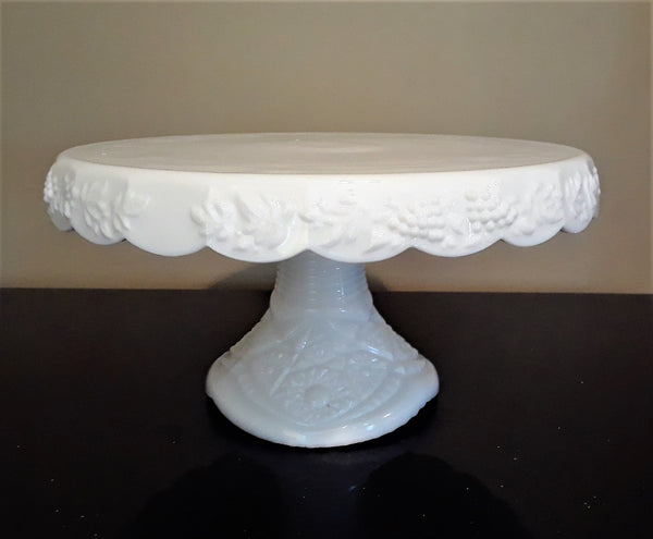 Large -  Grape Round Milk Glass Cake Stand
