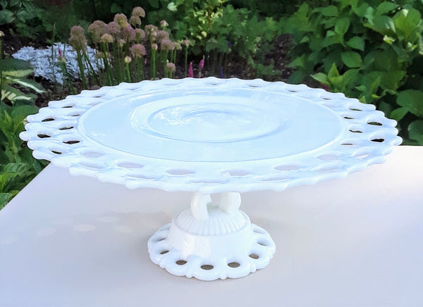 Large - Lace Round Milk Glass Cake Stand