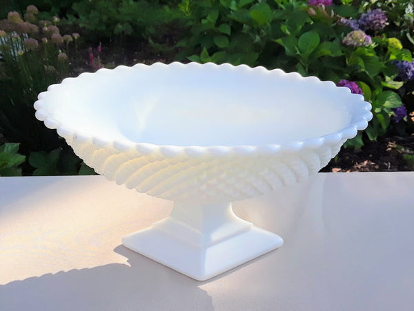 Medium - Oval Milk Glass Candy Dish