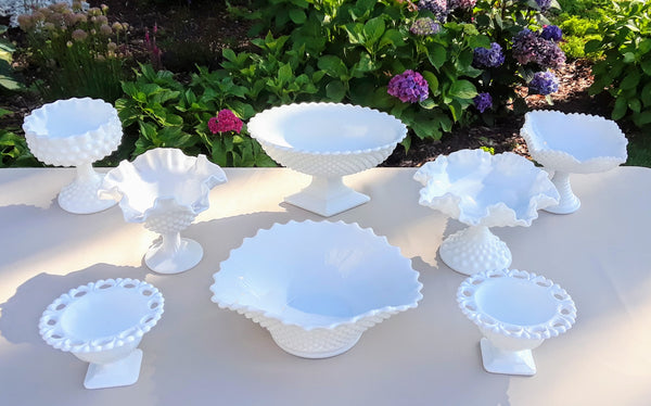 Small & Medium Size Milk Glass Candy Dishes and Bowl