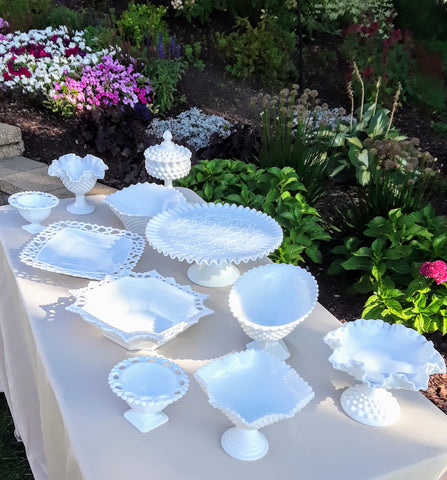 Milk Glass Cake Stands, candy dishes and more by Royal Table Settings