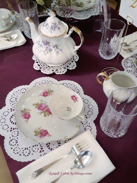 Vintage Snack Plate with Matching Tea Cup Set, Teapot, Crystal Glasses, Silver-plated Silverware and Napkin complete the look!