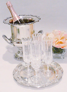 Vintage Champagne Bucket with Crystal Champagne Flutes
