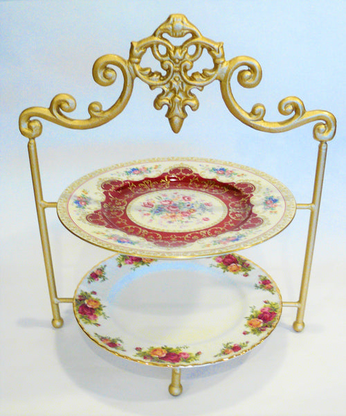 High Tea 2-Tier Stand - Gold Frame with Vintage Plates