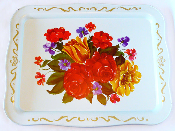 White Tin Tray with Floral Accents