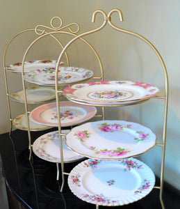 3-Tier Stand Gold Frame with Vintage Plates