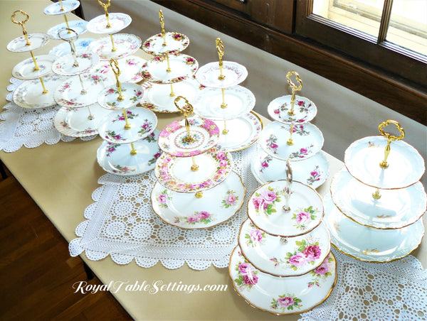 Royal Table Settings 3-Tier Porcelain Cake Stands Sets