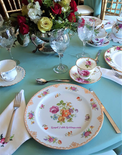 Royal Table Settings Vintage Rentals includes: Dinner Plates, Teacups, Silver-Plated Silverware and Napkin. Beautiful China Rentals.  Vintage Party Rentals. China rentals. Dinner Plate Rentals.